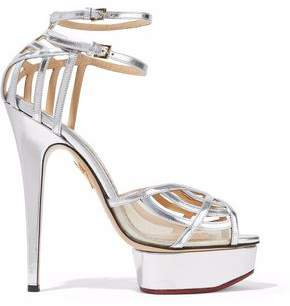 Charlotte Olympia Cutout Metallic Leather Platform Sandals