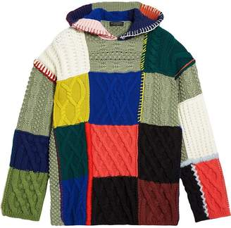 Burberry Wool and Cashmere Blend Patchwork Hoodie