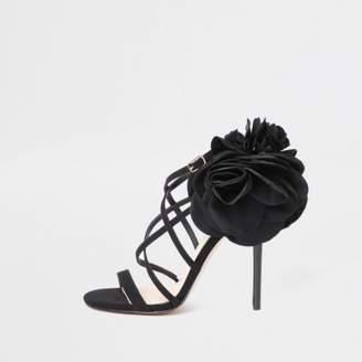 River Island Womens Black flower strappy stiletto heel sandals
