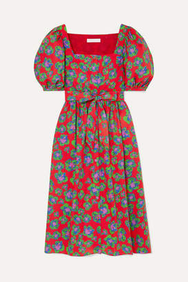 Borgo de Nor Corin Belted Floral-print Cotton-poplin Dress - Red