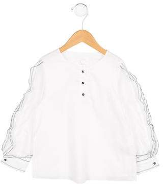 Chloé Girls' Ruffle-Trimmed Crew Neck Top w/ Tags