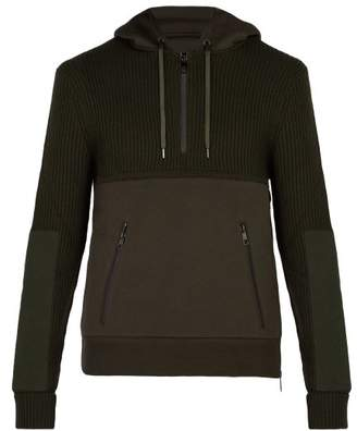 Neil Barrett Hybrid Hooded Knitted Sweatshirt - Mens - Khaki