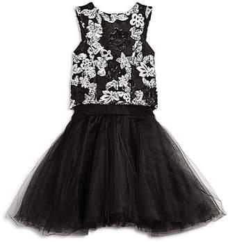 Miss Behave Girls' Embroidered Floral Top & Tutu Skirt - Big Kid