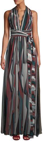 Zuhair Murad V-Neck Sleeveless Striped Long Silk Dress w/ Lace Trim