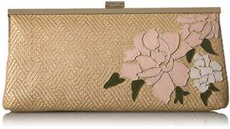 Calvin Klein Straw Embroidered Floral Clutch