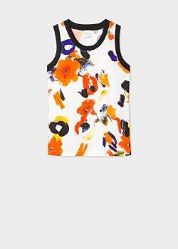 Paul Smith Women's White 'Painted Floral' Print Sleeveless Top