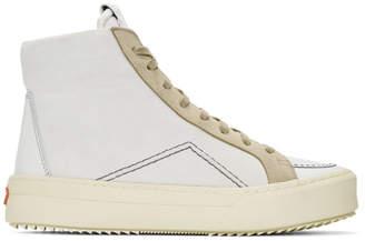 Rhude White and Grey V1 Hi Sneakers