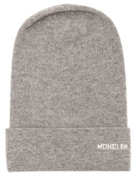 Moncler Logo Cashmere Beanie Hat - Womens - Grey