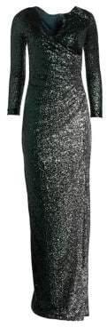 Teri Jon by Rickie Freeman Long Sleeve Side Slit Sequin Dress