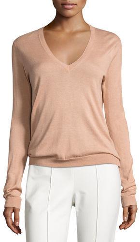 TheoryTheory Yulia Silk-Blend V-Neck Sweater