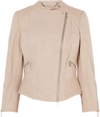 Karen Millen Fitted Leather Biker Jacket