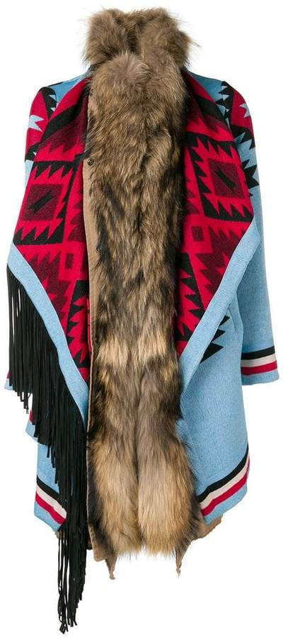 Bazar Deluxe fringed single-breasted coat