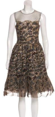 Oscar de la Renta Embellished Midi Dress