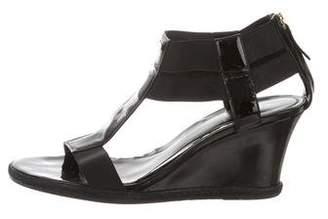 Fendi Patent Leather Wedge Sandals