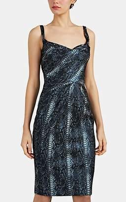 Zac Posen Women's Metallic Python Jacquard Cocktail Dress - Blue Pat.