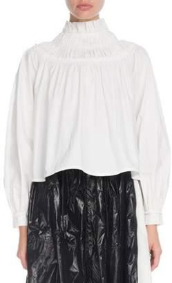 Proenza Schouler Shirred-Neck Long-Sleeve Cotton Tunic Blouse