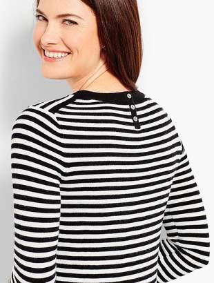 Talbots Striped Flounce-Sleeve Crewneck Sweater