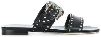 Prada western buckle flat sandals