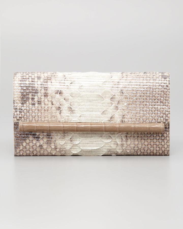 Nancy Gonzalez Crocodile & Glitter Python Clutch Bag, Natural