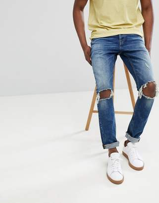 ONLY & SONS Slim Tapered Jeans With Open Knee Rips