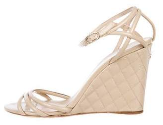 Chanel CC Quilted Wedge Sandals