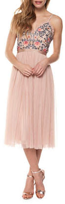 OCCASION BY DEX Embroidered Strap Dress
