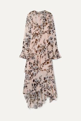 Philosophy di Lorenzo Serafini Ruffled Floral-print Crepe De Chine Midi Dress - Baby pink