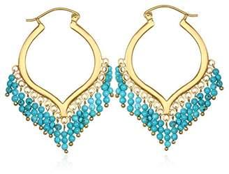 Satya Jewelry Turquoise Gold Plate Chandelier Hoop Earrings