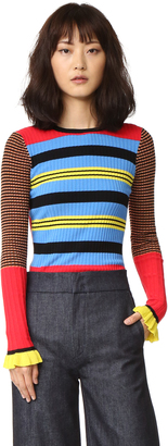 Opening Ceremony Striped Long Sleeve Crew Neck Top $375 thestylecure.com