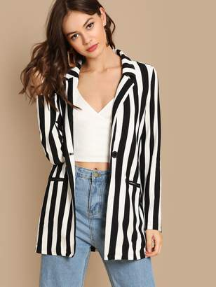 Shein Notch Collar Striped Textured Blazer