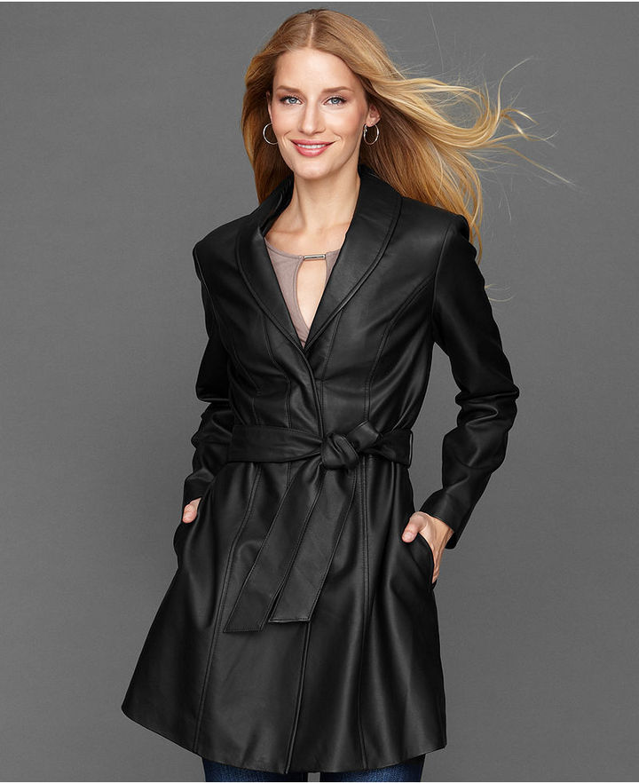 INC International Concepts Coat, Belted Faux-Leather Trench