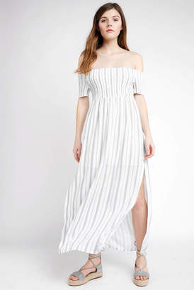 Abbeline Strapless Smocked Top Striped Maxi Dress