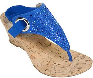 White Mountain Glitter Thong Wedge Sandals - Al