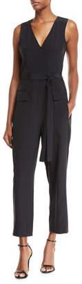 Tibi V-Neck Sleeveless Straight-Leg Silk Jumpsuit