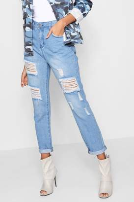 boohoo All Over Ripped 7/8th Jeans