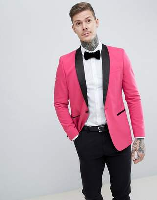Asos DESIGN Slim Tuxedo Suit Jacket In Bright Pink With Black Contrast Lapel