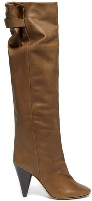 Isabel Marant Lacine Over The Knee Leather Boots - Womens - Khaki
