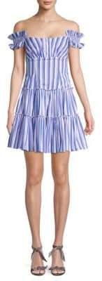 Caroline Constas Striped Mini Fit-&-Flare Dress