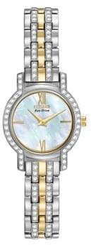 Citizen Eco-Drive Silhouette Crystal Two-Tone Stainless Steel Bracelet Watch