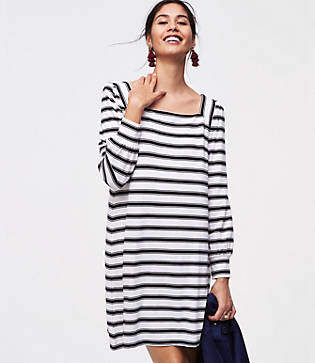 LOFT Petite Striped Square Neck Dress