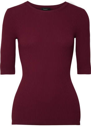 Theory Ribbed Stretch-knit Top - Burgundy