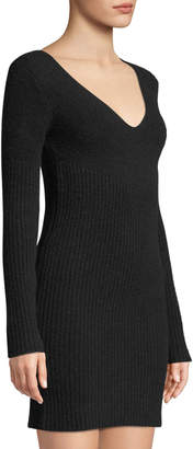Leon Max V-Neck Long-Sleeve Reibbed Sweaterdress