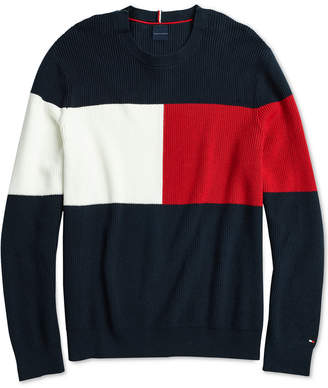 Tommy Hilfiger Adaptive Men Color Block Sweater with Hoop and Loop Fastener at Shoulder