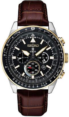 Seiko Men's Solar Chronograph Prospex Brown Leather Strap Watch 45mm