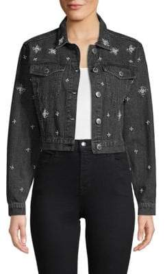 Embellished Cropped Denim Jacket