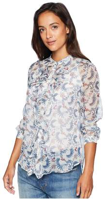 Vince Camuto Specialty Size Petite Long Sleeve Ruffle Front Boutique Floral Blouse Women's Blouse
