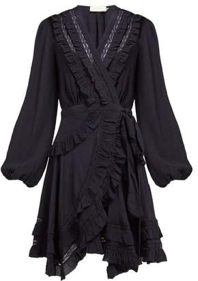 Zimmermann Moncur Frill Trimmed Silk Wrap Dress - Womens - Navy