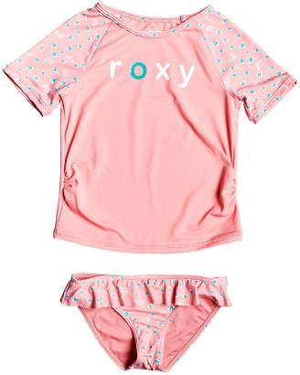Roxy Splash Party Short Sleeve Rashguard Two-Piece Swimsuit