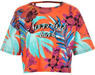 River Island Girls Orange tropical print crop top