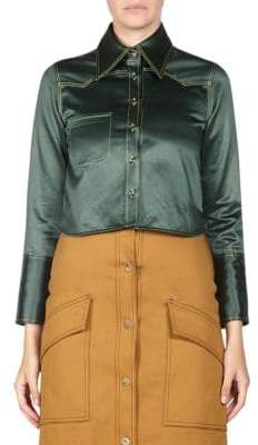 Acne Studios Rabecca Cropped Satin Blouse